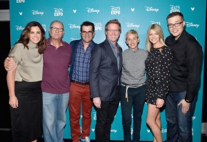 """ANAHEIM, CA - AUGUST 14: (L-R) Producer Lindsey Collins, actors Ed O'Neill, Ty Burrel, director Andrew Stanton, actresses Ellen DeGeneres and Kaitlin Olson and director Angus MacLane of FINDING DORY took part today in """"Pixar and Walt Disney Animation Studios: The Upcoming Films"""" presentation at Disney's D23 EXPO 2015 in Anaheim, Calif. (Photo by Alberto E. Rodriguez/Getty Images for Disney) *** Local Caption *** Ed O'Neill; Ty Burrel; Ellen DeGeneres; Kaitlin Olson; Lindsey Collins; Andrew Stanton; Angus MacLane"""