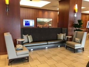 There's charging units at the base of the couches... you can't get more tech-y than that!